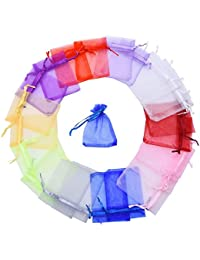 100 Pieces Multi Colored Organza Gift Bags Wedding Favor Bags Jewelry Pouches, Small Size