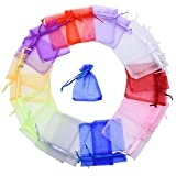 Mudder 100 Pieces Multi Colored Organza Gift Bags Wedding Favor Bags Jewelry Pouches, Small Size