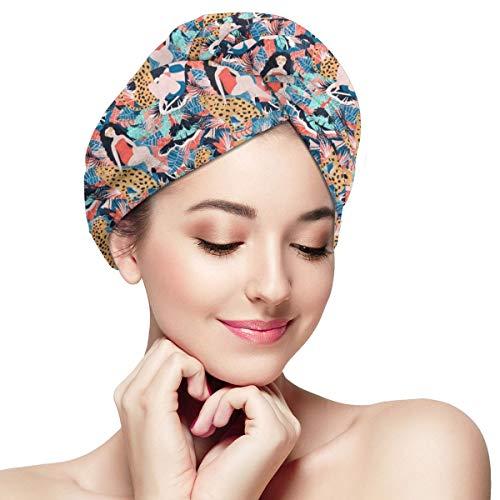 Trockenes Haar Mint Shampoo (Funny Club Hair Drying Towel Tropical with Cheetah Small Scale Wraps for Women Shower Turban Microfiber Quick Magic Drying Wrapped Bath Cap)