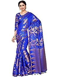 MIMOSA Women's Kanjivaram Silk Saree With Running Blouse Piece (4080-247-SD-RBLU_Blue)