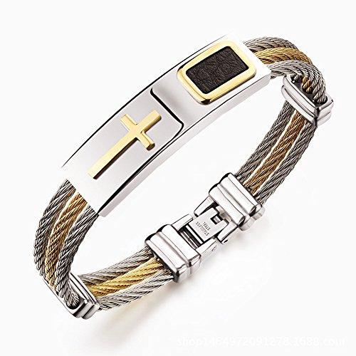 Hopefultech Schmuck Herren Armbänder Edelstahl Armband Herrenarmband Echtleder Armband Für Männer Herrenarmreif Armreif Armkette aus Edelstahl 18.5cm (SS-GOLD)