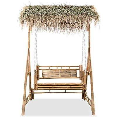 vidaXL Gartenschaukel 2-Sitzer mit Palmblättern Bambus 202cm Schaukelbank von vidaXL auf Gartenmöbel von Du und Dein Garten