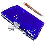 Fuqun - Cuaderno de lentejuelas y bolígrafos de 6 colores - colorido DIY reversible lentejuelas Secret Diario, con candado y llaves, bonito regalo de cumpleaños para niñas de todas las edades