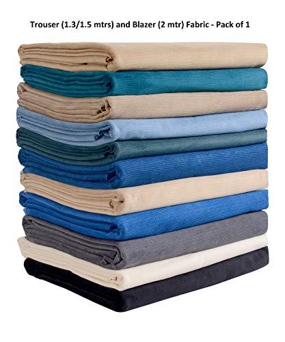 Fabilano Men's Cotton Corduroy 1.3 m Unstitched Trouser Fabric (Black, Free Size)