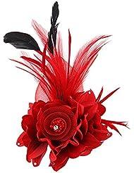 Saianke Charmant en maille plumes Pince à cheveux femme fille Dragonne Cocktail Party Barrette fleur Bibi Chapeau