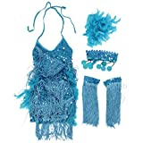 TOOGOO(R) New Children Kids Sequin Feather Fringe Stage Performance Competition Ballroom Dance Costume Latin Dance Dress For Girls Blue,L