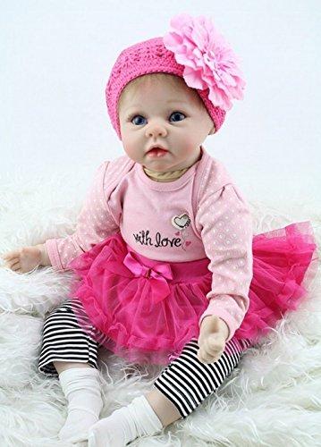 ZIYIUI 22 Zoll Lebensechtes Puppe Reborn Babys Puppen Silikon Mädchen Handgefertigt Babypuppen Dolls Neugeborenes Kinder Spielzeug(55cm) Realistische Kind Geburtstagsgeschenk