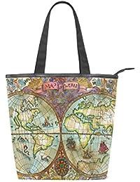 Jeansame - Bolso de lona para mujer, con cremallera, diseño vintage de mapa del