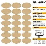 Mr-Label® marrón concha de peregrino oval Kraft etiquetas engomadas adhesivas -Self para la decoración de regalos | Manos artesanas | Finishing Touch (Tamaño: 63.5 * 38.1mm) (25 hojas / Totalmente 525pcs etiquetas)