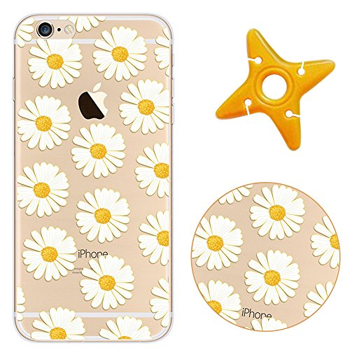 iPhone 6sPlus Cover, MAOOY Moda Flower Animal Frutta Flamingo Modello Design Case per iPhone 6Plus, Flessibile Ultra Sottile Leggero Bumper Copertura di Soft Gomma Sveglio Cristallo Gel Antiurto Prote Crisantemo