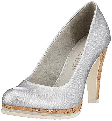 22401, Zapatos de Tacón para Mujer, Gris (Lt.Grey St.Pat), 41 EU Marco Tozzi