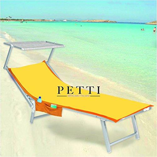 Petti, artigiani italiani telo mare microfibra,giallo-arancio telo lettino con elastici, tasche (giallo/arancio)