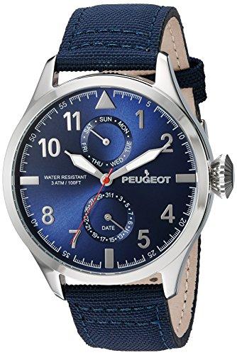 peugeot-homme-toile-bleu-acier-bande-de-calendrier-jour-date-montre
