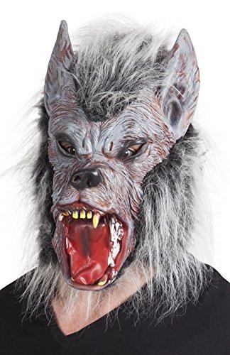 Confettery - Halloween Kostüm Werwolf Kopf Latex Maske mit Haaren Erwachsenen Maske, (Kopf Kostüme Werwolf)