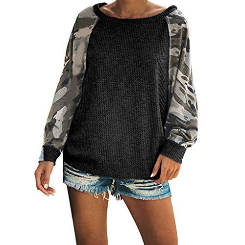 Xuthuly Frauen-Tarnungs-Druck-Patchwork-Lange Hülsen-beiläufiges Sweatshirt übersteigt Damen-Art- und Weiseeinfache Baggy Pullover-Bluse