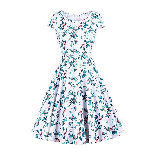 VECOLE Damenoberteile Rock Kleiden Summer Damen Oansatz Ärmellos Vintage Floral Print Stitching Vintage Cocktail-Kleid im Country-Stil Großes Swing-Kleid Puffed Vintage Dress(Weiß,XXL) -