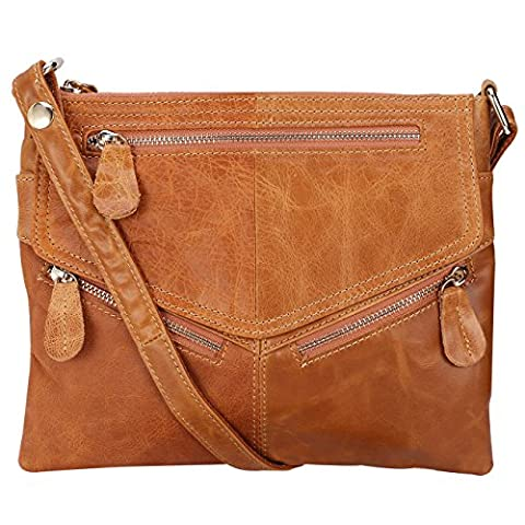Lecxci Women's Small Soft Leather Travel Purses, Zipper Cross body Bags Shoulder Purses for Women (Tan)