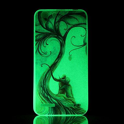 CaseHome Lenovo K5 Luminous Hülle (Mit Frie Displayschutzfolie) Leuchtende Silikone Rückhülle Für iPhone 6 6s Plus 5.5 Zoll Zoll Silikon Etui Handy Hülle Weiche Transparente Luminous TPU Back Case Tas Paar-Liebe-Baum