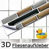 5er Set 27,9 x 4,3 cm Fliesenaufkleber kupfer dunkelgrau silber Ziegel I 3D selbstklebend Fliesen Küche Bad Wandaufkleber Fliesendekor Folie Grandora W5284