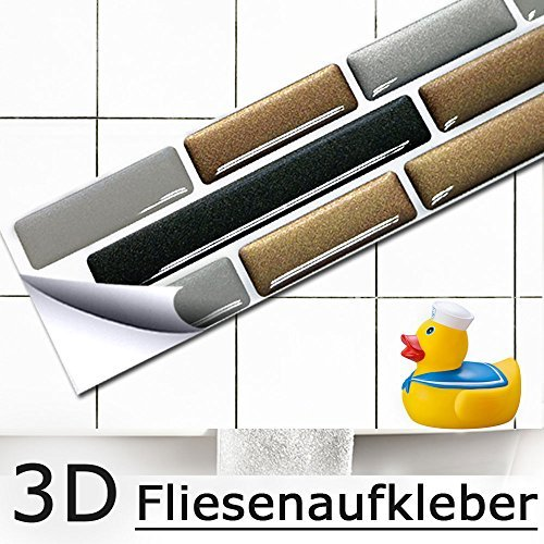 5er set 27,9 x 4,3 cm grandora mosaico 3d adesivo per piastrle w5284 autoadesivo cucina bagno adesivo da muro decorazione piastrelle pellicola rame grigio scuro argento mattone
