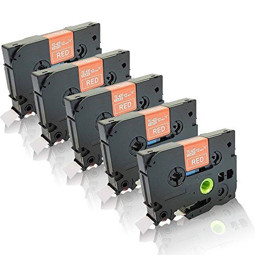5x Schriftbänder kompatibel für Brother P-Touch P700 P-Touch P750Series P-Touch P750TDI P-Touch P750W Weiß auf Rot 12mm TZE 435 TZ435 (P-touch Rot)