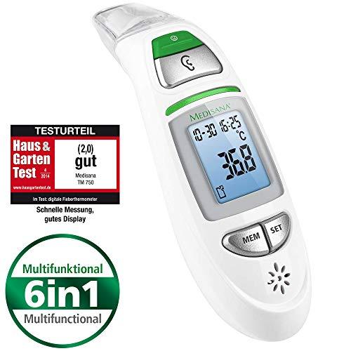 Medisana TM 750 termómetro clínico digital 6 en 1 para bebés, niños y adultos, oral, axilar o rectal, temperatura ambiente y temperatura de fluidos, alarma visual de fiebre y función de memoria