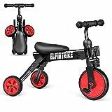 besrey 2 in 1 mini Kinderlaufrad Laufrad Lernlaufrad Lauflernrad Kinder Fahrrad Dreirad Kinderdreirad - zusammenklappbar - rot