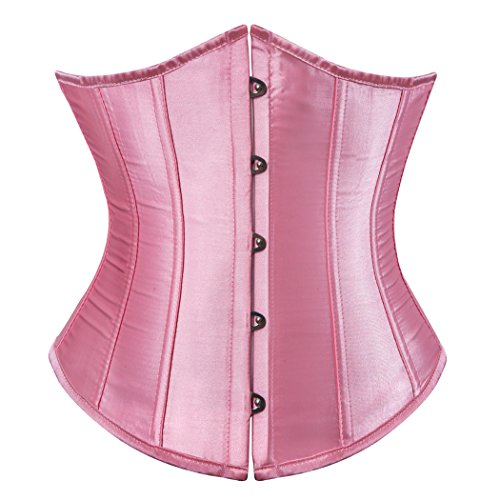 Satin lace up Boned Corset Waist Cincher Bodyshaper Lingerie Underbust Large Pink (Up Lace Korsett Pink)