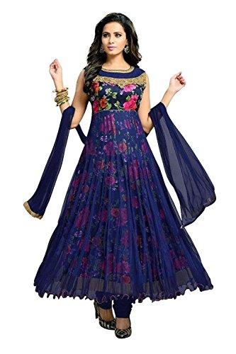 Muta Fashions Women's Crepe Salwar Suit (Suit400_04,Blue,Free Size, Semi-Stitched)