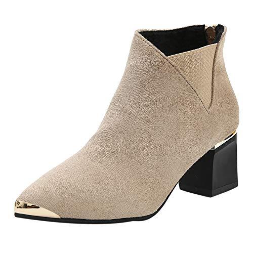 Chelsea Ankle Boots Stiefel Damen Winter Schwarz 7Cm Absatz Steel Toe Chukka Keilabsatz Kurzschaft Desert Combat Army High Heel Plateau Fell