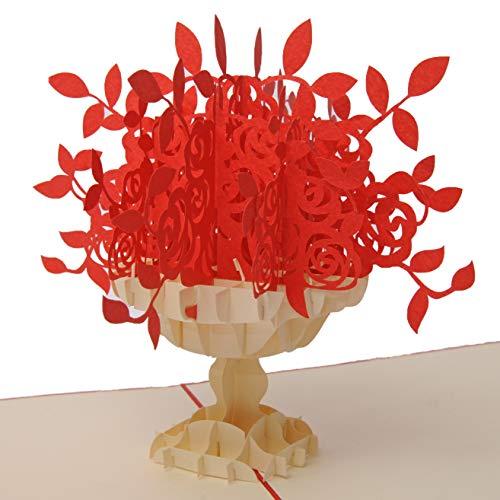 Favour Pop Up Grusskarte mit floralem Bouquet in Vase. Ein filigranes Kunstwerk durch aufwändige Handarbeit. TF017