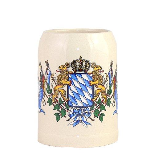 Bavariashop Steinkrug Bayern, Bayrisches Wappen Rautenmuster & Löwen, Bierkrug, Weiß, 0,5 Liter -