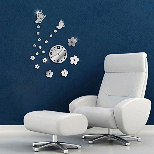 Vetrineinrete® orologio da parete adesivo sticker componibile tridimensionale 3d effetto specchio decorazione murales farfalle e fiori 0449s