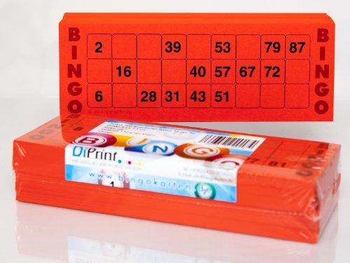 200 große Bingokarten für Senioren 15 aus 90 Zahlen (rot)
