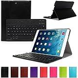 CoastCloud color negro funda Cubierta protectora cuero PU con Teclado Inalambrico QWERTY espanol para ipad Air 2(iPad 6) con Bluetooth