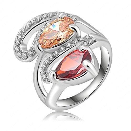 Kostüm Paar Pimp (Daesar Vergoldet Ringe Damen Träne Ring Zirkonia Ring Strass Verlobungsring Stein Ring Größe: 60)