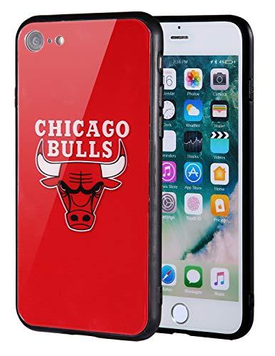 Die Masse iPhone 8Fall, iPhone 7Fall, NBA Team Logo auf gehärtetem Glas Backcover und Soft TPU Rahmen für Apple iPhone 8/7, 4.7 inch, Chicago Bulls - Team-logo Iphone Fall