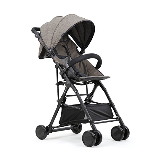 Poussette ERRU Outdoor Travel Systems bébé portable ultra-léger peut reposer inclinable Fold Buggy High Paysage camion à main bleu gris Landau citadines (Couleur : Gris)