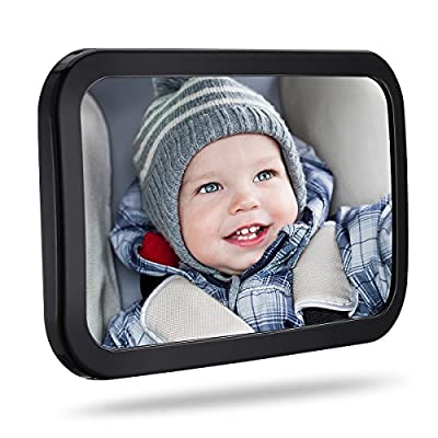 TopElek Baby Car Mirror, 360°Adjustable Large Car Seat Mirror Rear Facing, 100? Shatterproof Car Seat Mirror with Anti-Wobble Fixing Straps Quick Install - inexpensive UK light shop.