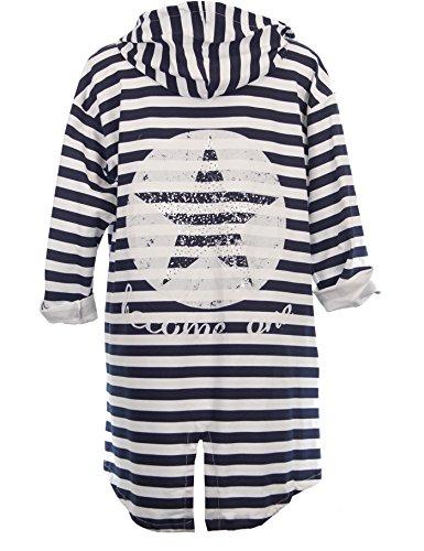 Damen Jacke Lang Sweatjacke Cardigan Kapuzenjacke Übergangsjacke mit Strass ohne Verschluss Grau oder - Strass Jacke