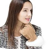 YISEVEN Damen Shearling Lederhandschuhe mit Warm Gefüttert Winter Lammfell Leder Autofahrer Handschuhe, Kamel - (Touchscreen) S