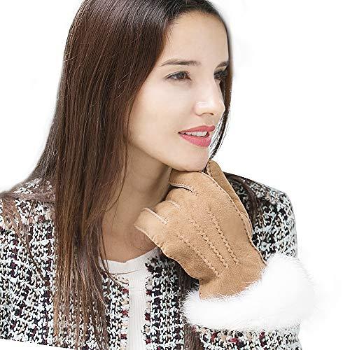 YISEVEN Damen Shearling Lederhandschuhe mit Warm Gefüttert Winter Lammfell Leder Autofahrer Handschuhe, Kamel - (Touchscreen) M