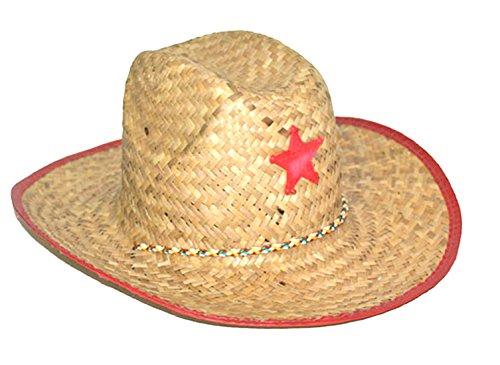 Karnevalsbud - Cowboyhut Strohhut mit Stern - Kinder Sheriff Cowboykostüm Mädchen Jungen, (Helm Reiter Kostüm)