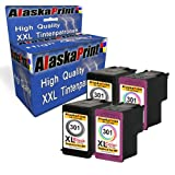 Alaskaprint 4er-Pack kompatible Druckerpatronen als Ersatz für HP 301 XL (Schwarz , Farbig)