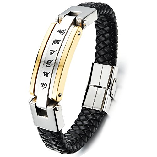 Flongo Bracelet Acier Inoxydable Cuir Mantra Sanscrit Bouddhiste Lien Aimanté Magnétique Tressé Fantaisie Bijoux Cadeau pour Homme Noir/Or