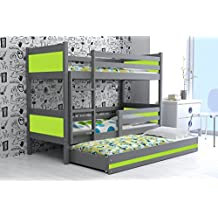 LITERA INFANTIL TRIPLE (3 camas) 190x80, color gris (LOS PANELES EN VARIOS COLORES) (verde)