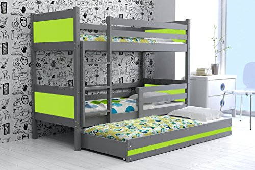 Lettino triplo RINO 190x90 per ragazzi, letto a castello con terzo letto  estraibile, cameretta per bambini e ragazzi, MATERASSI GRATIS. (Verde)