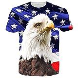 Chicolife Unisex Amerikanische Flagge Eagle und Sterne Print Personalisierte Grafik Kurzarm T-Shirts T-Shirts Style 1