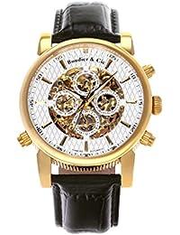 Boudier & Cie SK14H055 - Reloj Esqueleto Automatico Analogico para hombre, Esfera blanca, Carcasa dorada de Acero inoxidable, Correa de Cuero negro