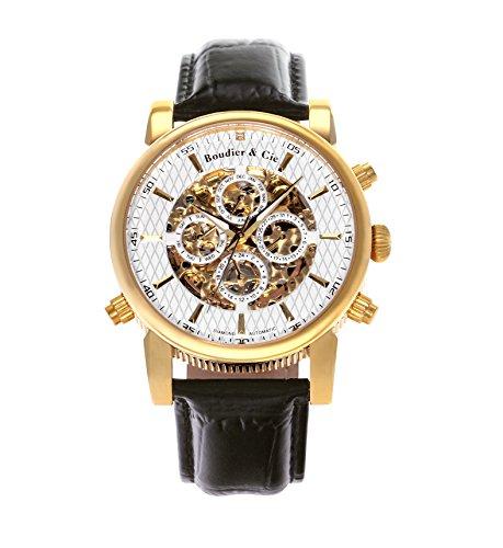 Automatik Armbanduhr von Boudier & Cie für Männer mit einem echten Diamanten mit Weißem Zifferblatt Analoger Anzeige und Schwarzem Armband aus Leder SK14H055